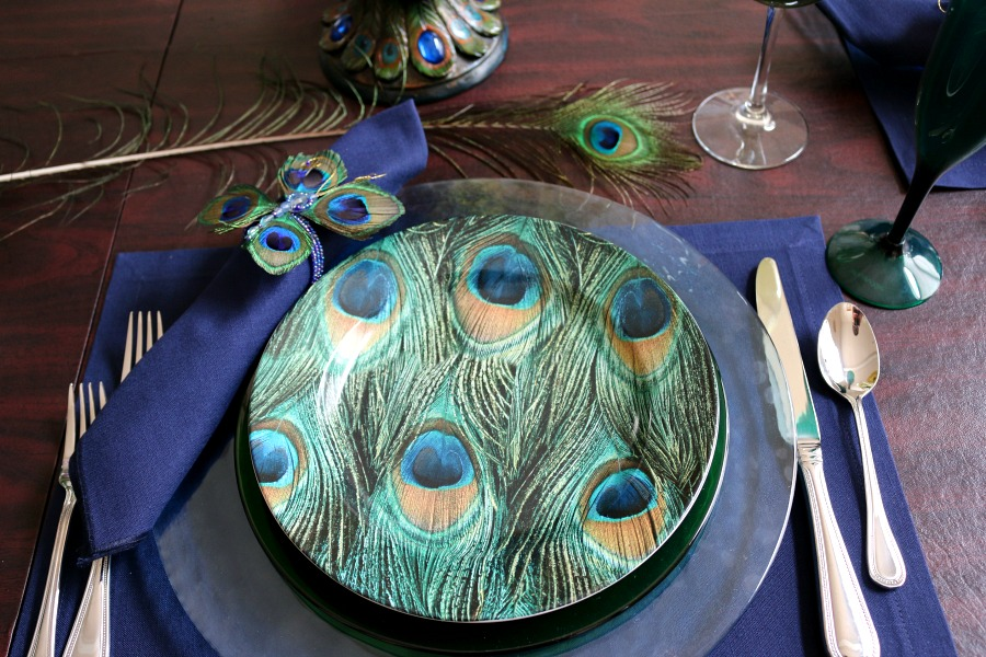 Peacock Table Scape - Cecelias Good Stuff