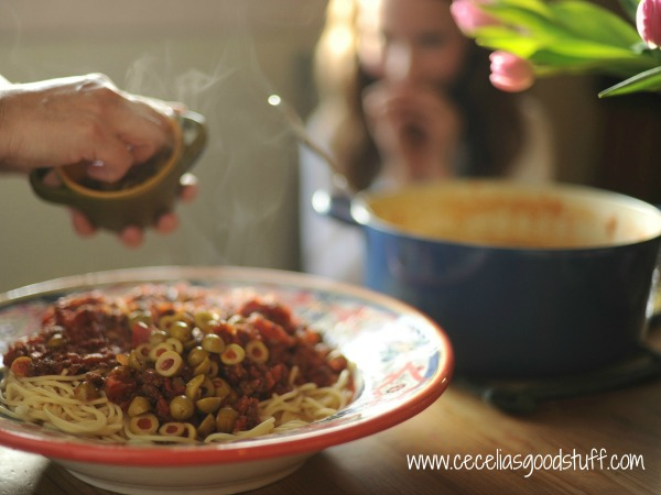 Spaghetti & Italian Sausage with Green Olives