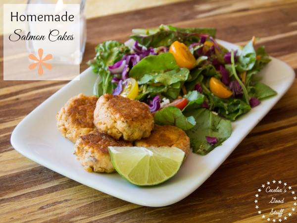Salmon Cakes over Mixed Greens