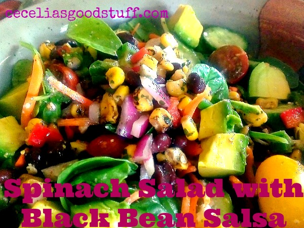 Spinach Salad with Black Bean Salsa