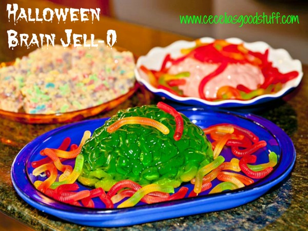 Halloween Brain Jell-o with Worms