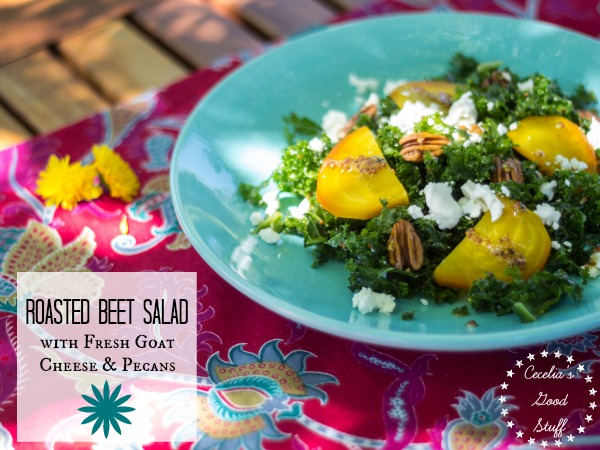 Roasted Beet Salad with Fresh Goat Cheese & Pecans
