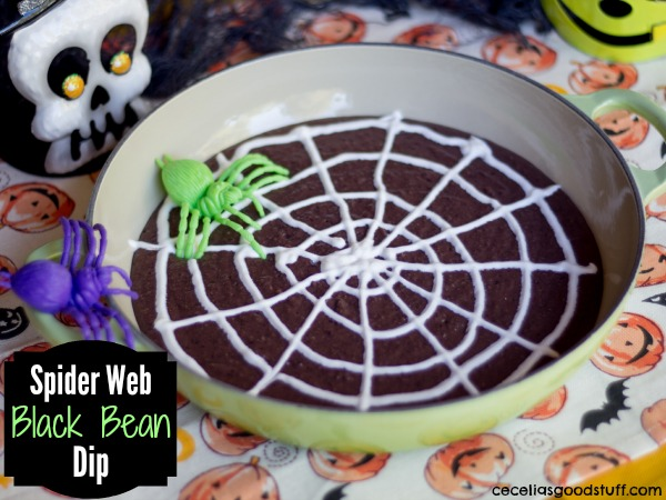 Halloween Black Bean Spider Dip CeceliasGoodStuff.com Good Food for Good People