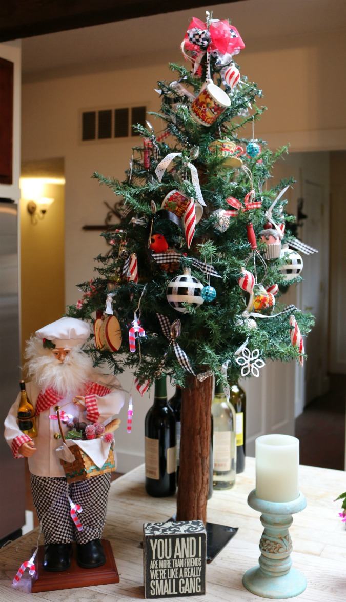 Christmas Kitchen Tree, decorated with sterling silver salt spoons.