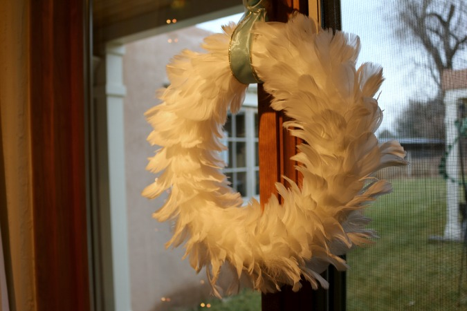 Feather Wreath in the Guest Bedroom.