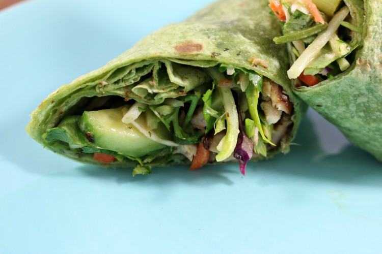 Thai Chicken Wrap with Peanut Sauce