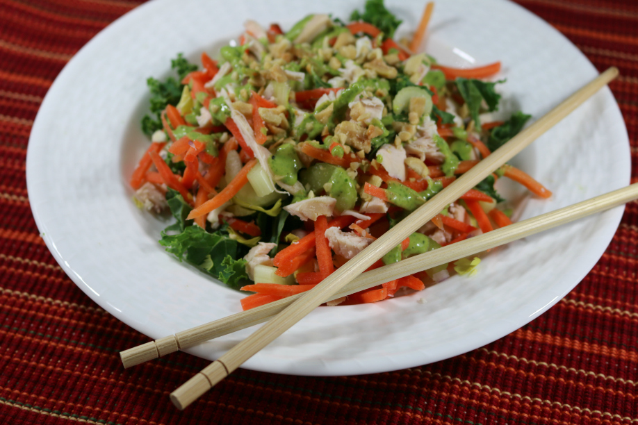 Chopped Asian Salad with Chicken and a tangy cilantro lime dressing CeceliasGoodStuff.com Good Food for Good People