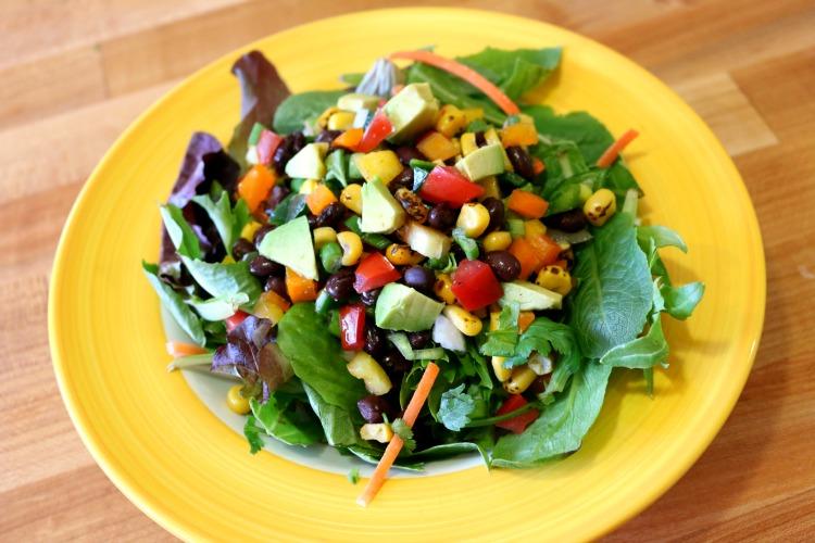 Mixed Green Salad with Black Bean Salsa.