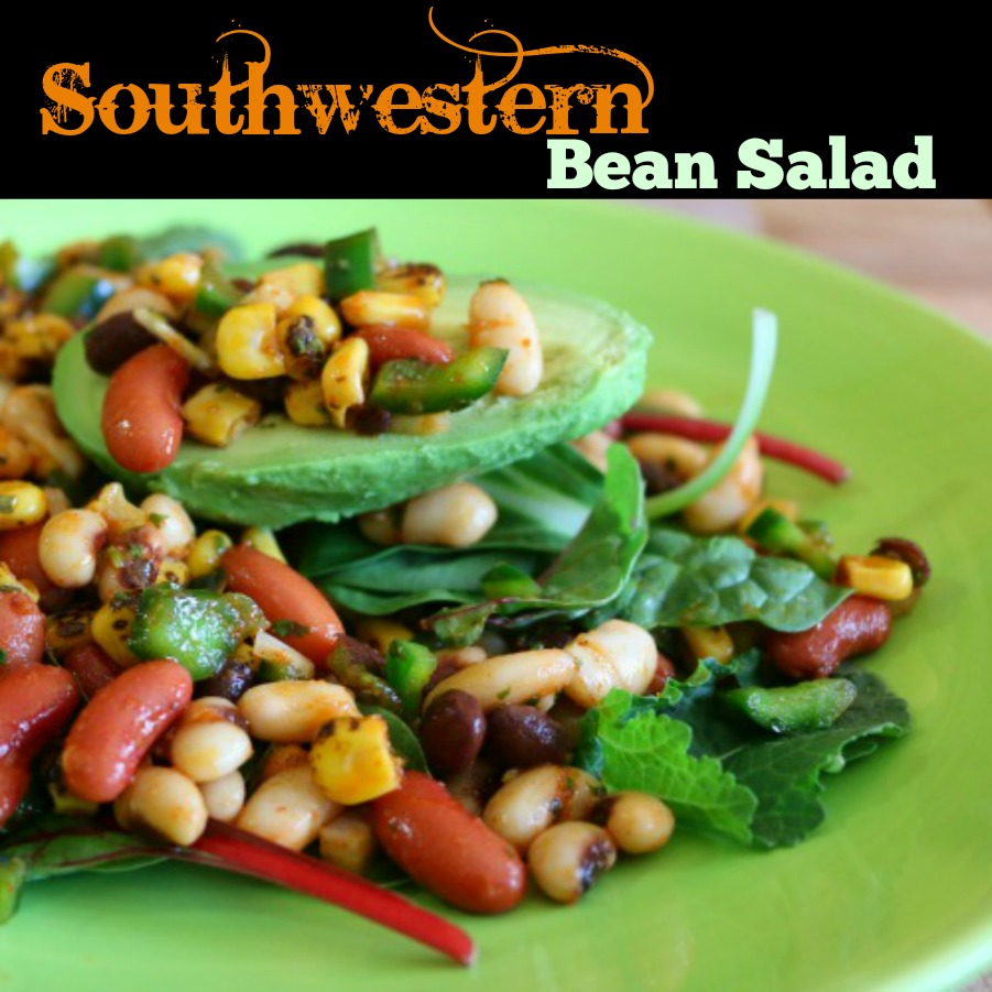 Southwestern Bean Salad - Served over mixed greens and an avocado! PERFECTION! | www.ceceliasgoodstuff.com
