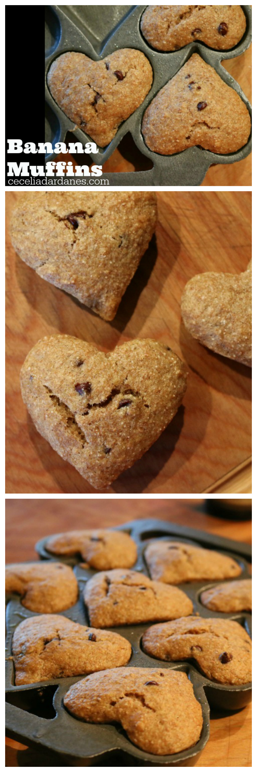 Heart Shaped Banana Muffins with Chocolate Chips CeceliasGoodStuff.com Good Food for Good People