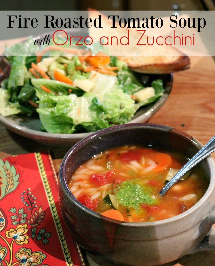 Recipe for Fire Roasted Tomato Soup with Orzo and Zucchini