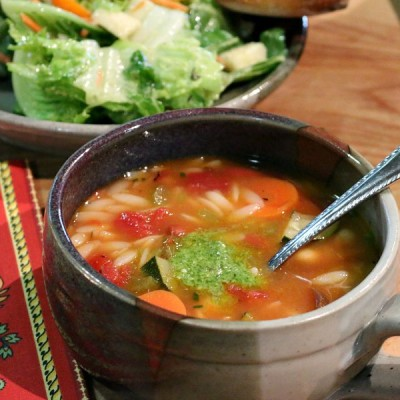 Fire Roasted Tomato Soup with Orzo and Zucchini