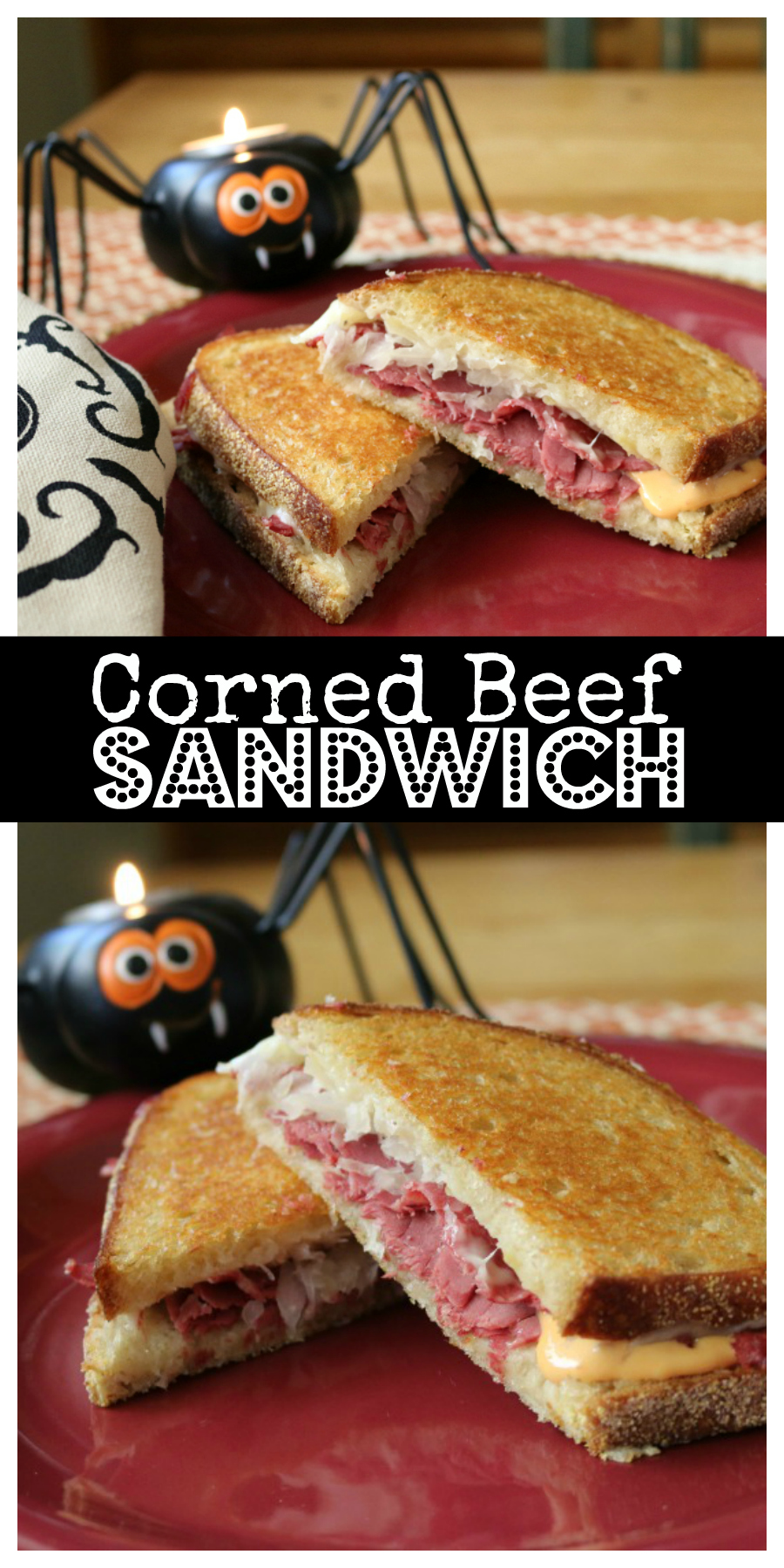 The Ultimate Corned Beef Sandwich perfect anytime - and great for Halloween!  CeceliasGoodStuff.com | Good Food for Good People
