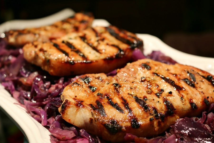 Extra Thick Pork Chops and Cabbage