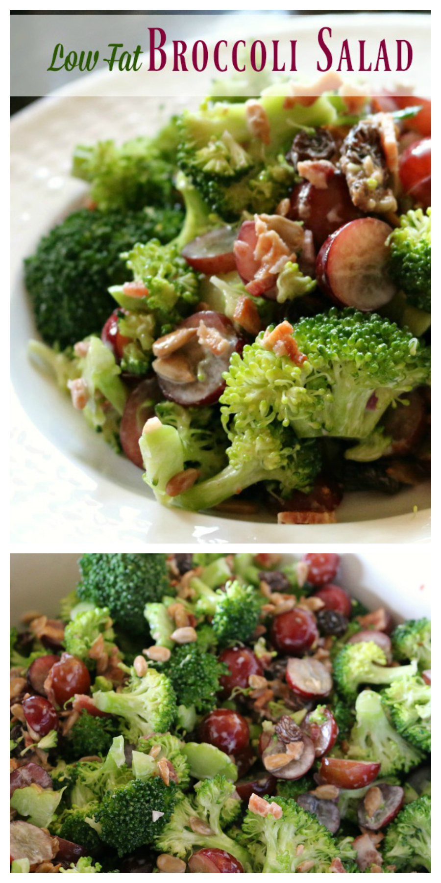 Recipe for Low Fat Broccoli Salad with Grapes and Bacon - perfect for the holidays!  CeceliasGoodStuff.com | Good Food for Good People