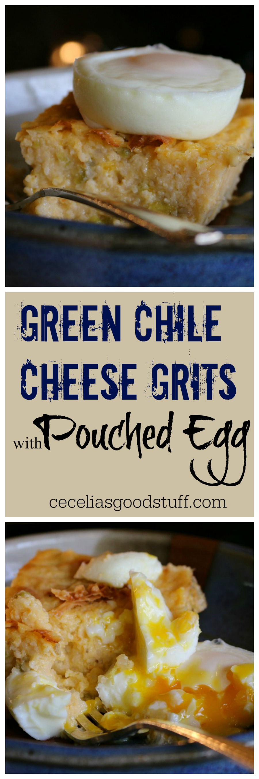 Recipe for Green Chile Cheese Grits with a Poached Egg