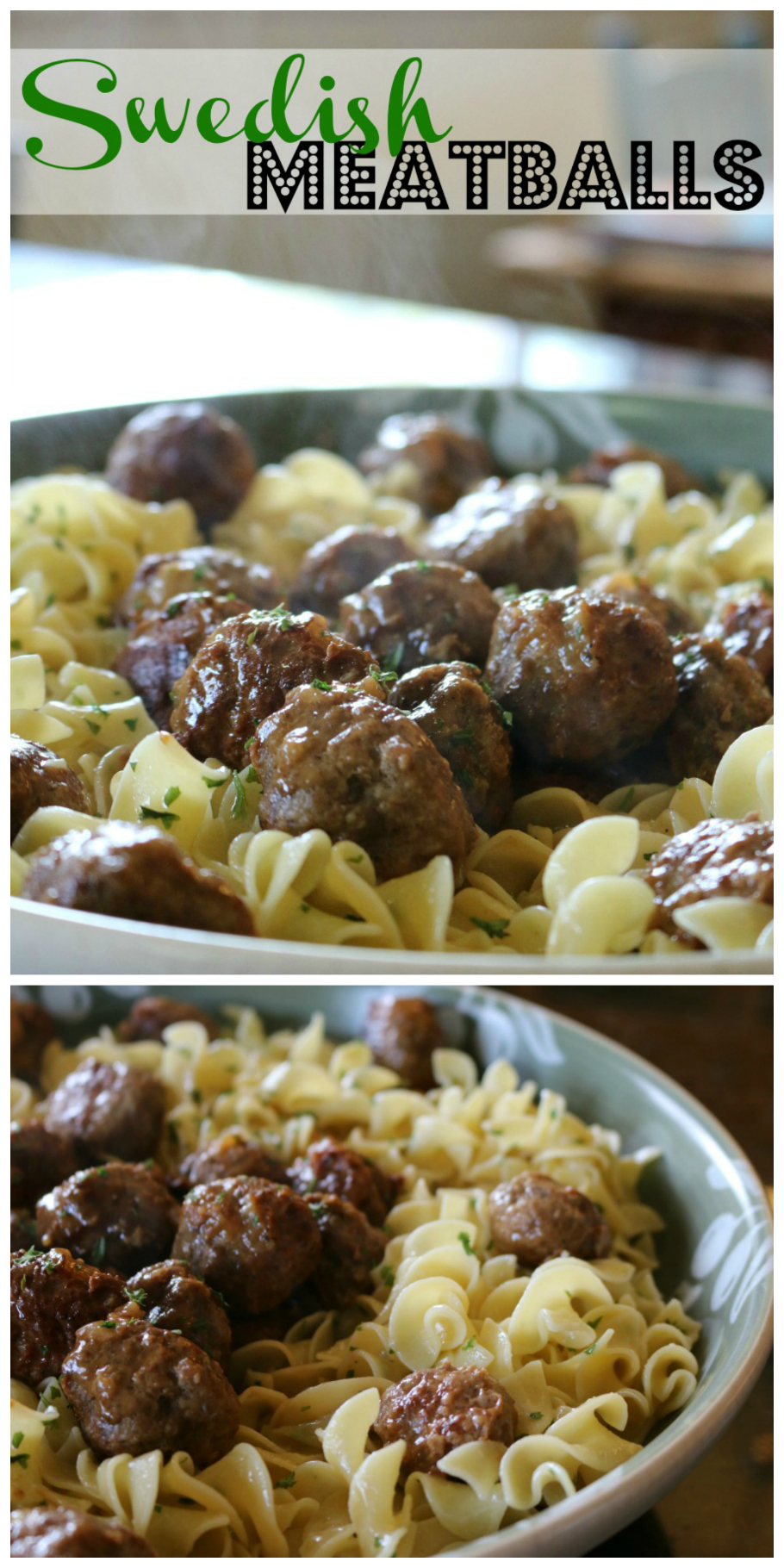 Sweedish Meatballs over Egg Noodles  CeceliasGoodStuff.com   Good Food for Good People