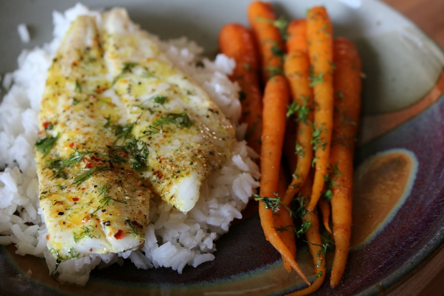 Recipe for Sticky Rice and Baked Flounder