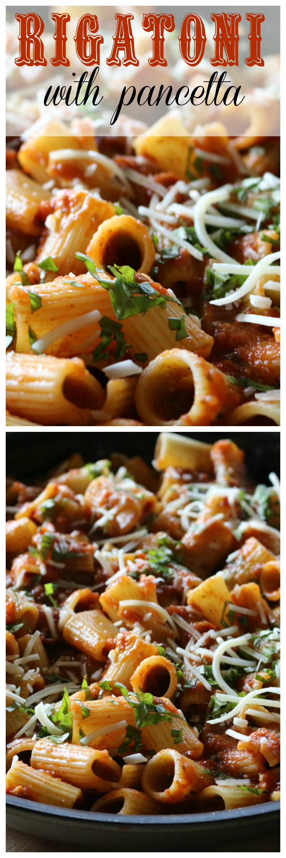 Easy recipe for Italian Rigatoni with pancetta and fresh basil.