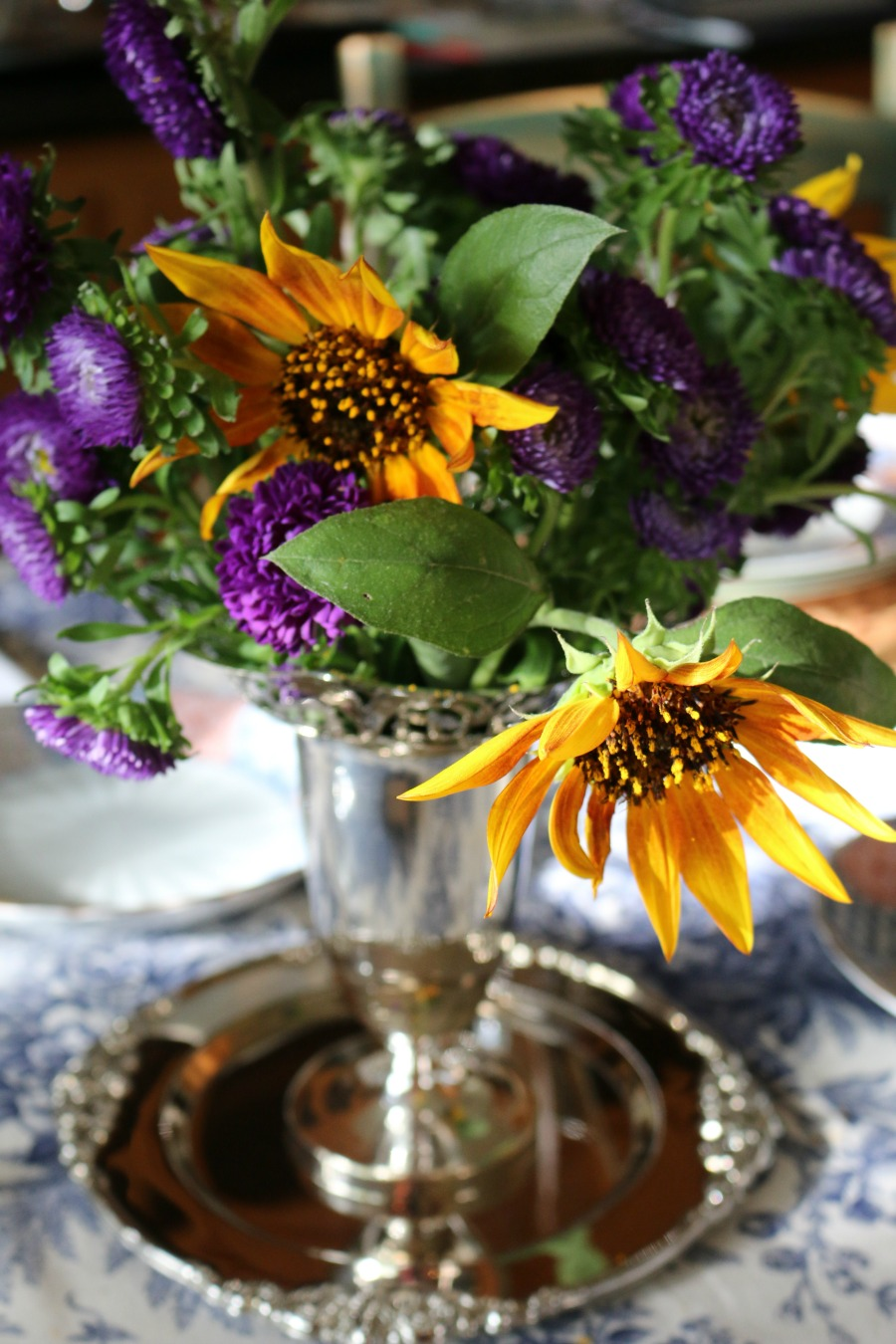 Centerpiece using some silver plated pieces I  found at an estate sale.