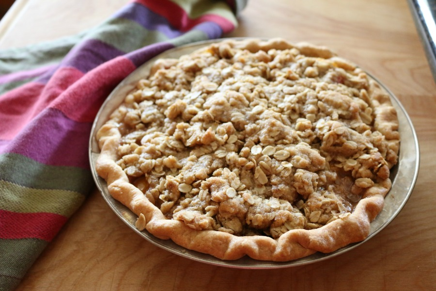 Crumble Peach Pie Recipe CeceliasGoodStuff.com | Good Food for Good People