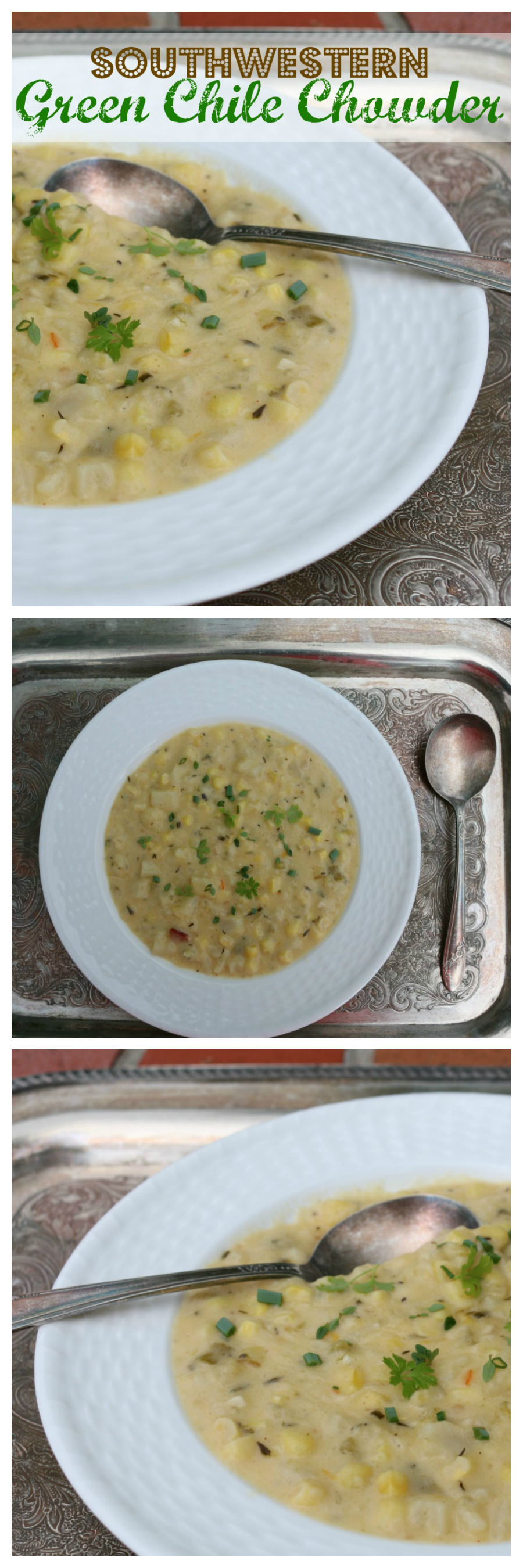 Southwestern Green Chile Corn Chowder Recipe by CeceliasGoodStuff.com | Good Food for Good People
