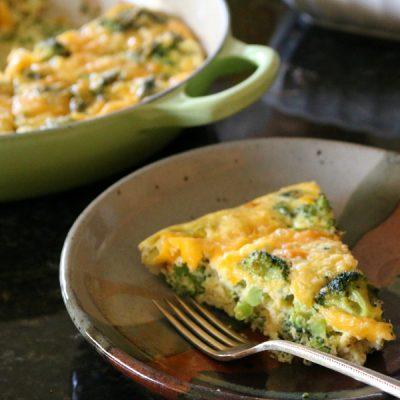 Cast Iron Broccoli and Cheddar Frittata