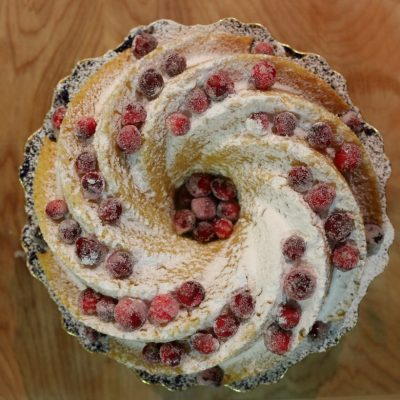 Lemon Bundt Cake with Candied Cranberries