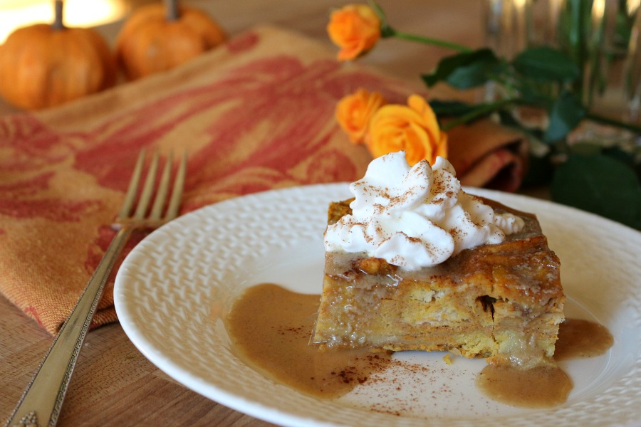 The most amazing Thanksgiving Dessert - Pumpkin Bread Pudding with Bourbon Sauce