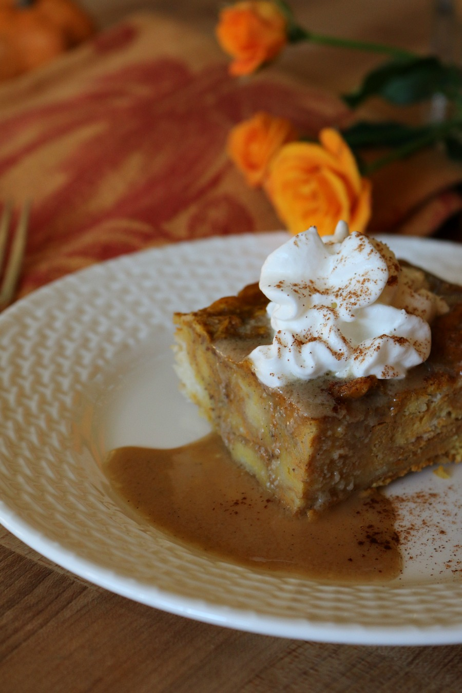 The most amazing Thanksgiving Dessert - Pumpkin Bread Pudding with Bourbon Sauce and tiny vanilla beans!