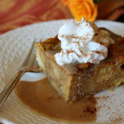 Pumpkin Bread Pudding with Bourbon Sauce