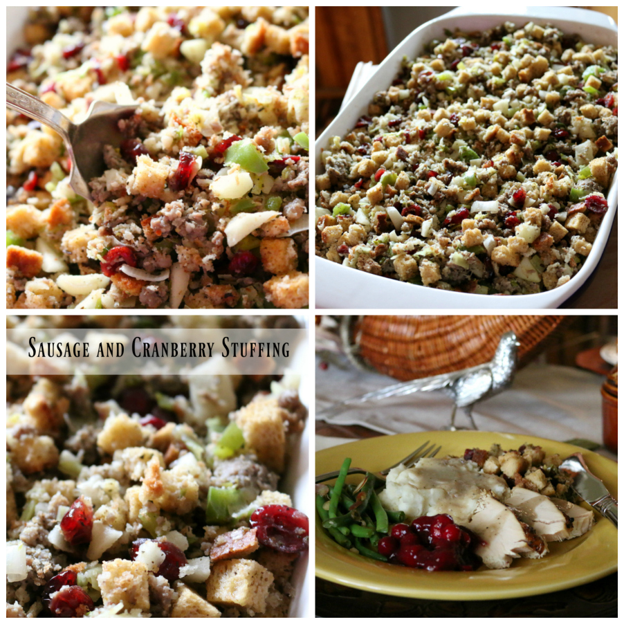 Thanksgiving Recipe for Sausage and Cranberry Stuffing CeceliasGoodStuff.com | Good Food for Good People