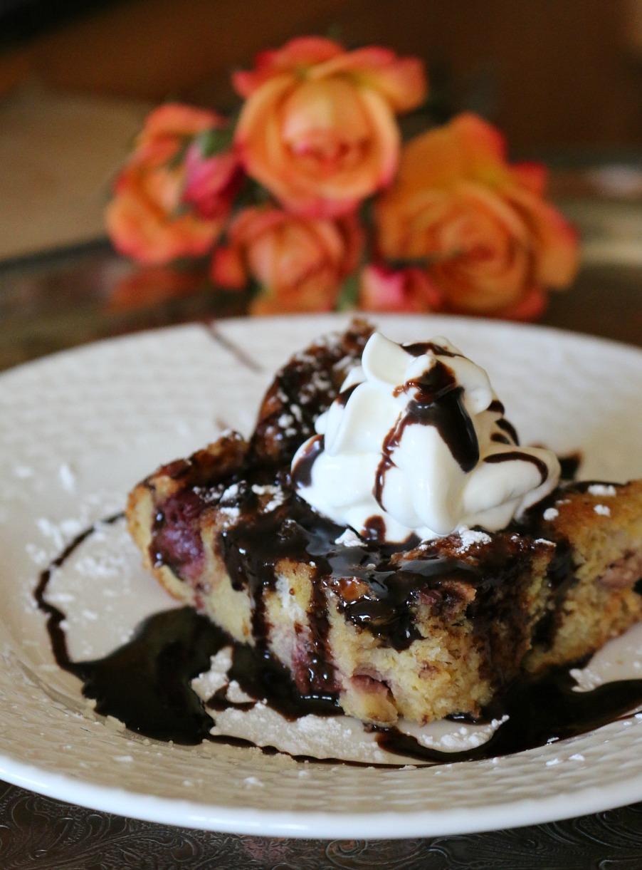 Cherry Chocolate Bread Pudding | www.ceceliasgoodstuff.com