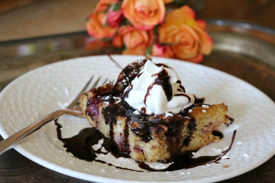 "Chocolate & Cherry Bread Pudding - the ultimate dessert to say, ""I LOVE YOU!"" 