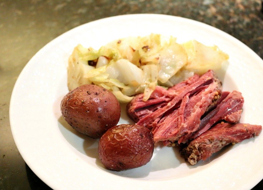 Braised Cabbage and Roasted Red Potatoes are the perfect compliment to this Crock Pot Corn Beef