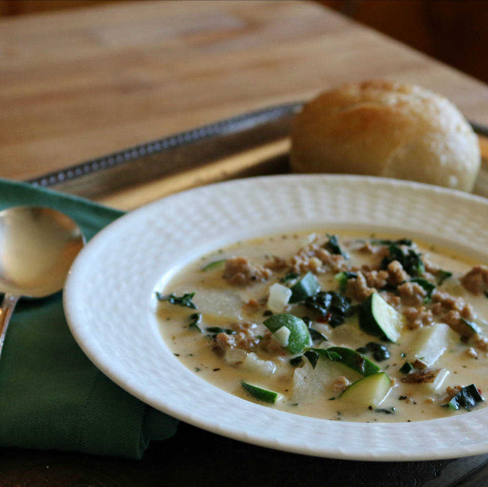 Toscana Italian Kale and Sausage Soup CeceliasGoodStuff.com | Good Food for Good People