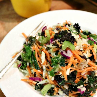 Rainbow Kale Salad with Lemon Dill Dressing