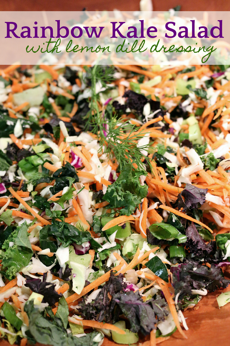 Healthy Rainbow Kale Salad with Lemon Dill Dressing Recipe | CeceliasGoodStuff.com | Good Food for Good People