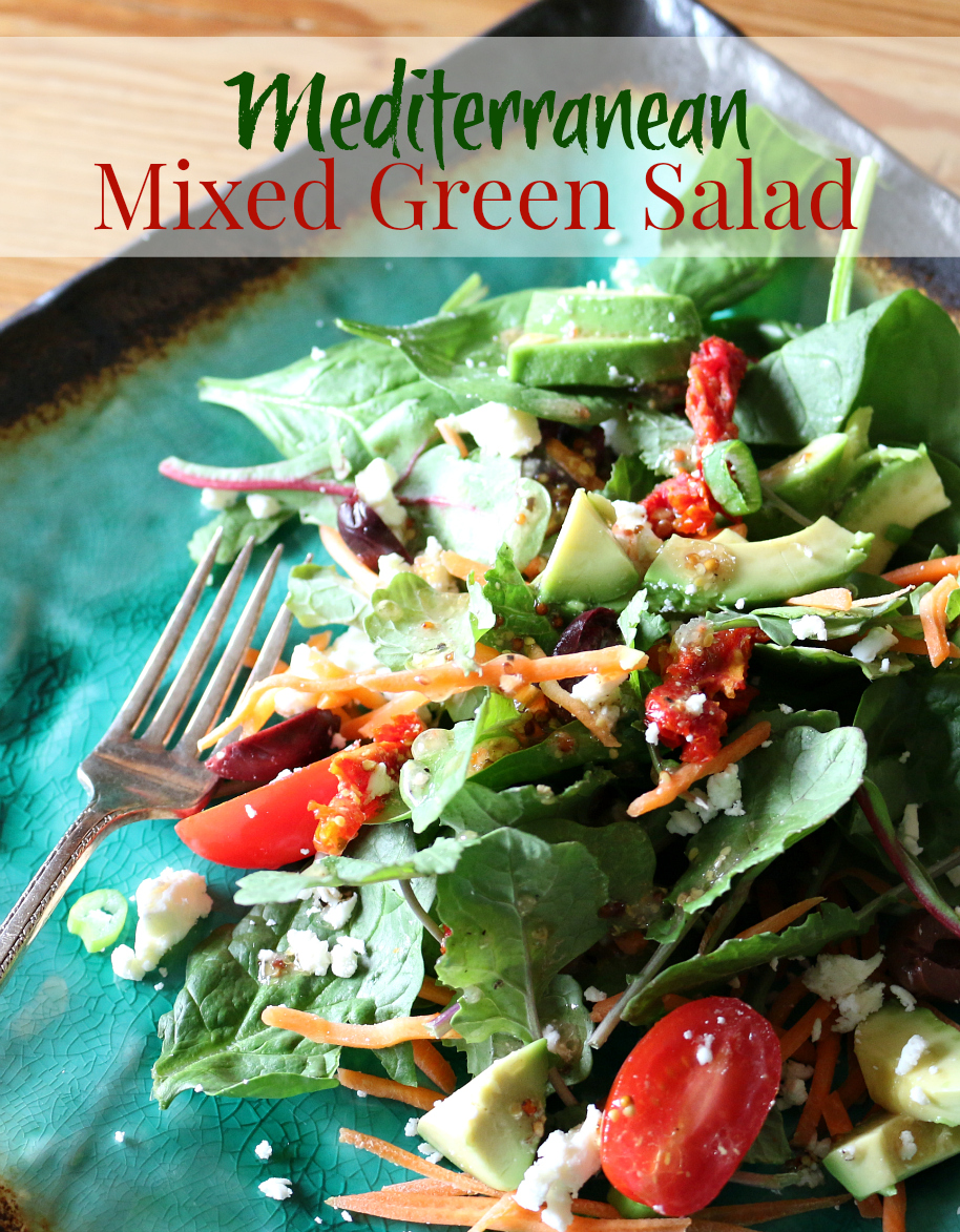 A Mediterranean Mixed Green Salad with a Lemon Herb Vinaigrette | CeceliasGoodStuff.com | Good Food for Good People