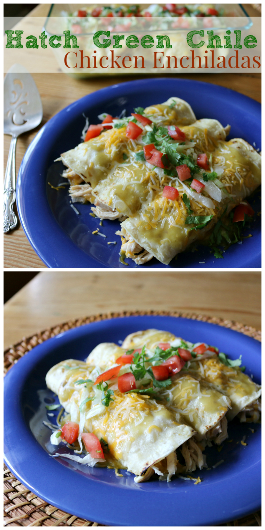 Hatch Green Chile Chicken Enchiladas | CeceliasGoodStuff.com | Good Food for Good People
