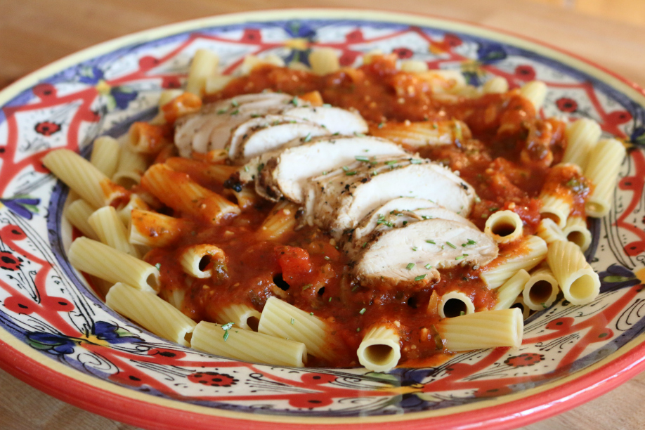 Italian imported Rigatoni with Italian Grilled Chicken | CeceliasGoodStuff.com | Good Food for Good People