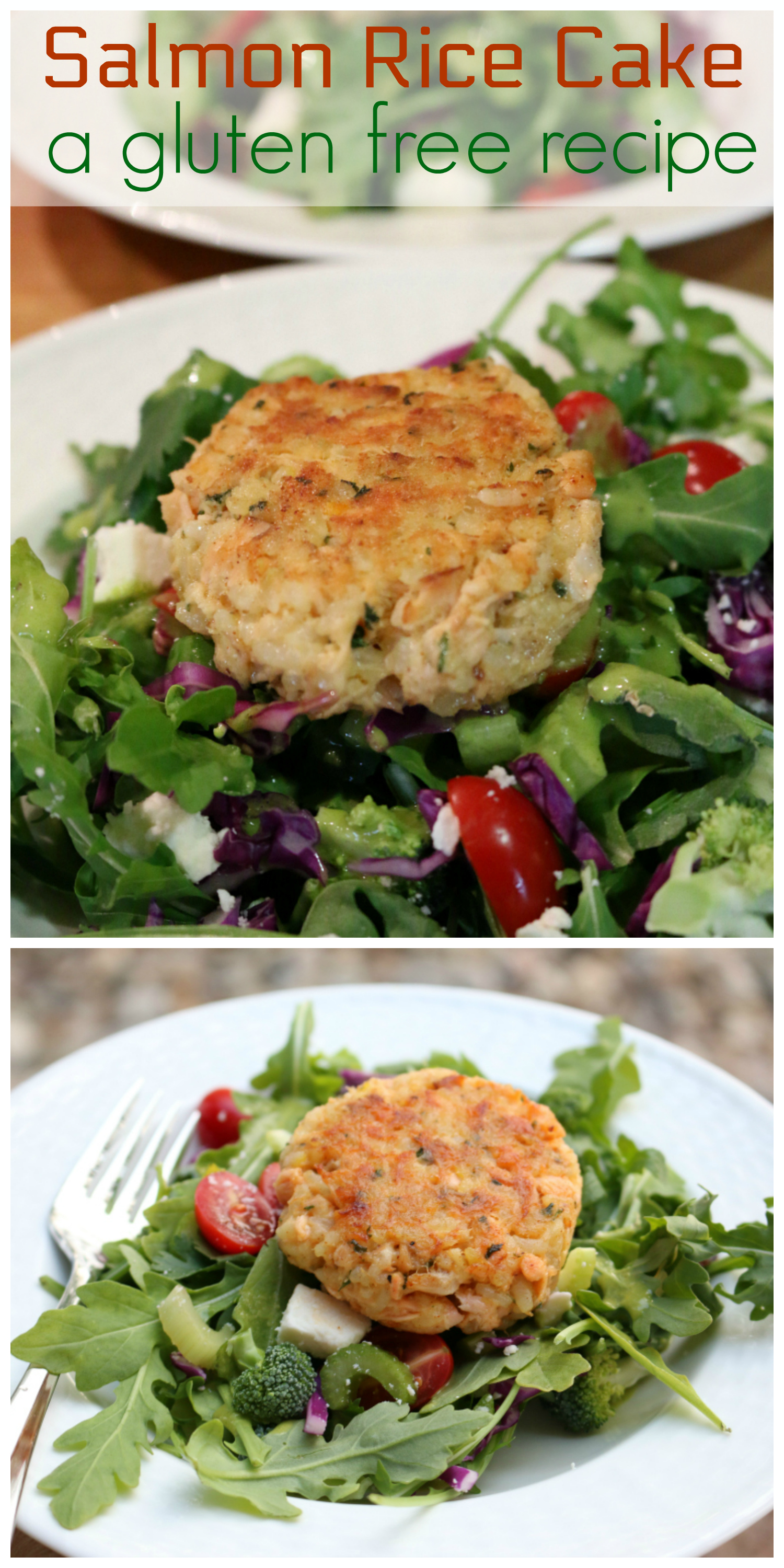 Gluten Free Salmon Rice Cakes over Arugula Salad  CeceliasGoodStuff.com  |  Good Food for Good People