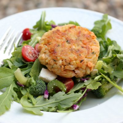 Salmon Rice Cake over Arugula Salad