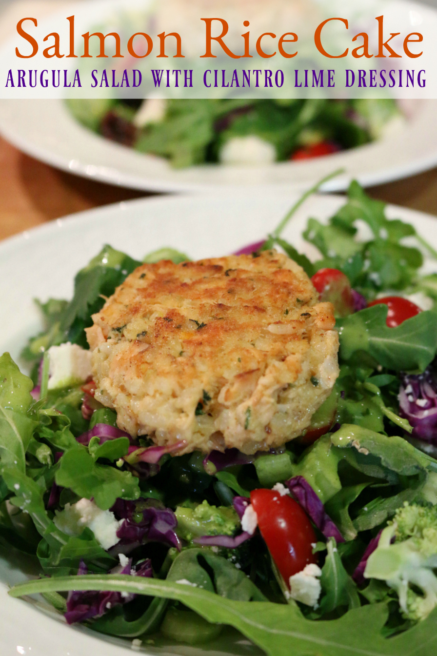 Salmon Rice Cake served over  Arugula Salad & Cilantro Lime Dressing | CeceliasGoodStuff.com | Good Food for Good People |