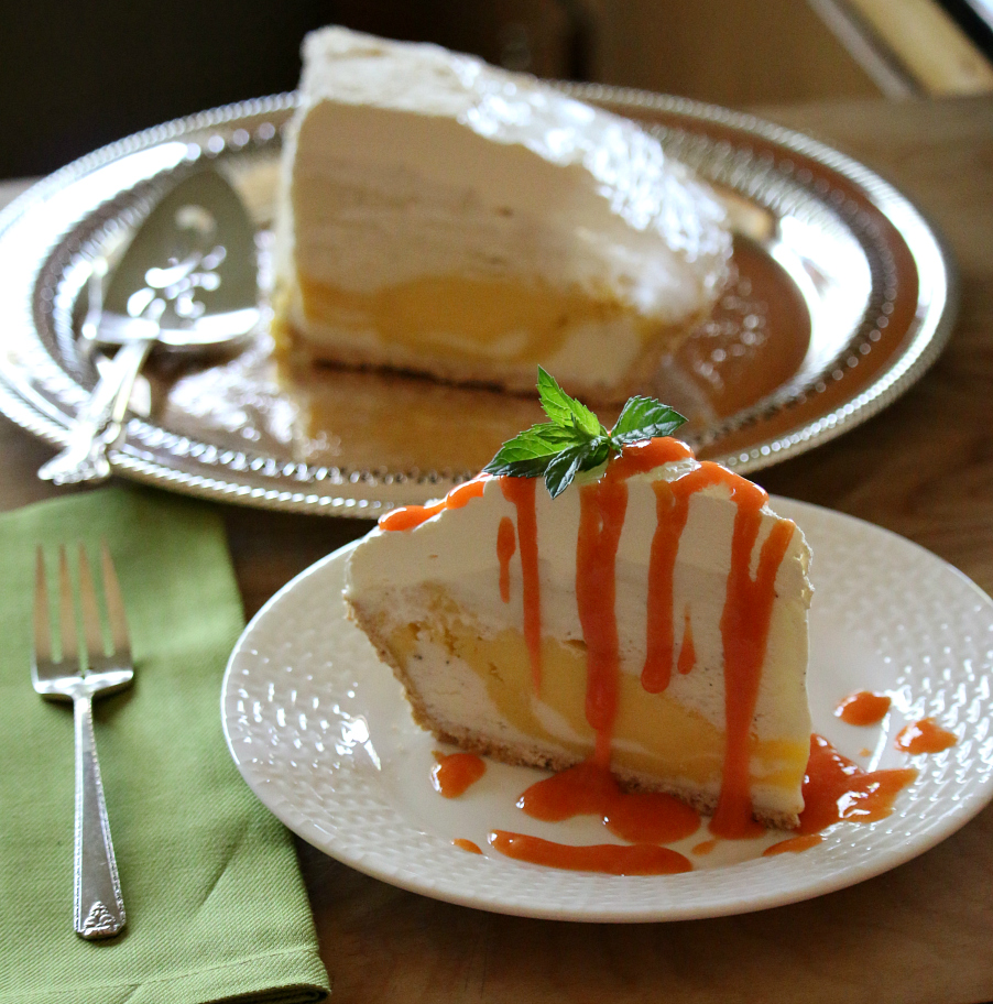 Vanilla Mango Ice Cream Pie with Mango Coulis