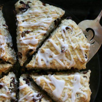 Papaya and Coconut Scones with Vanilla Glaze