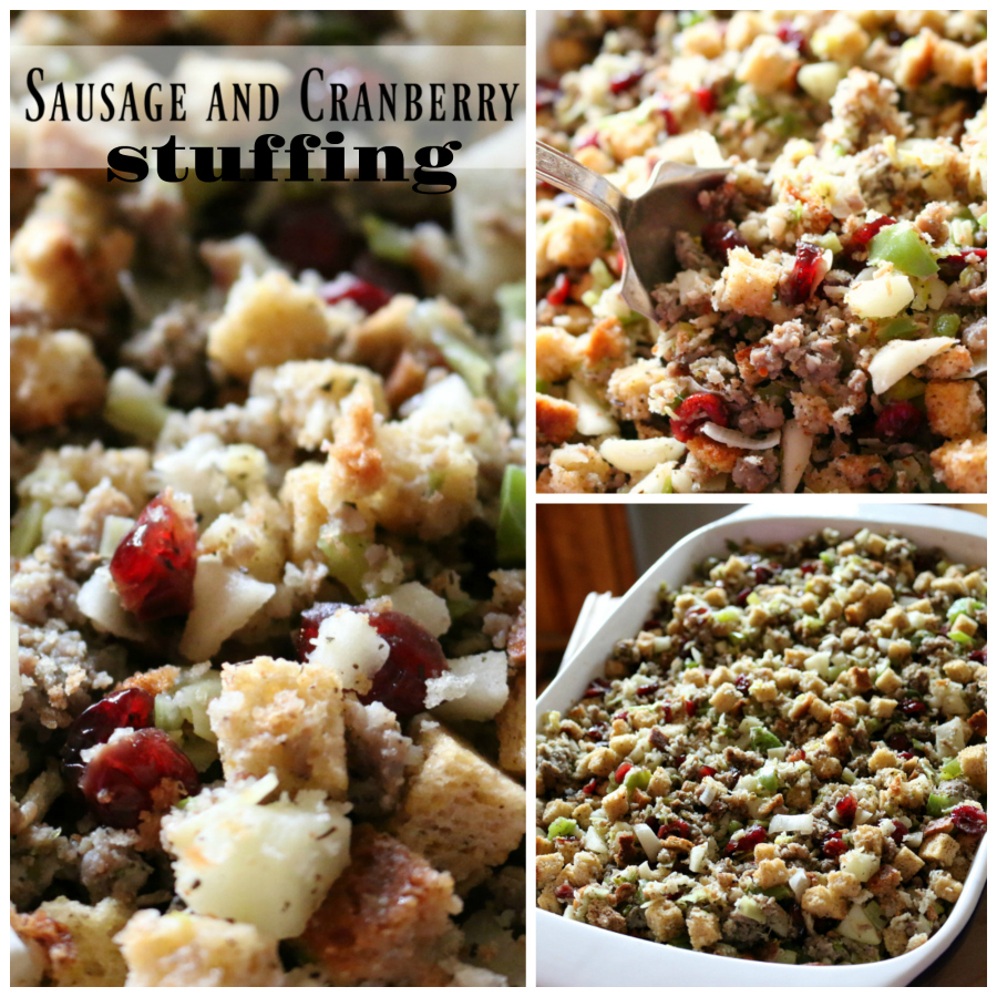 Sausage and Cranberry Thanksgiving Stuffing CeceliasGoodStuff.com Good Food for Good People