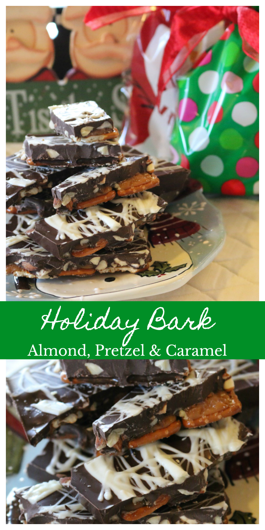 An easy homemade holiday gift your friends and family will LOVE! Almond Pretzel Caramel - Holiday Bark Recipe