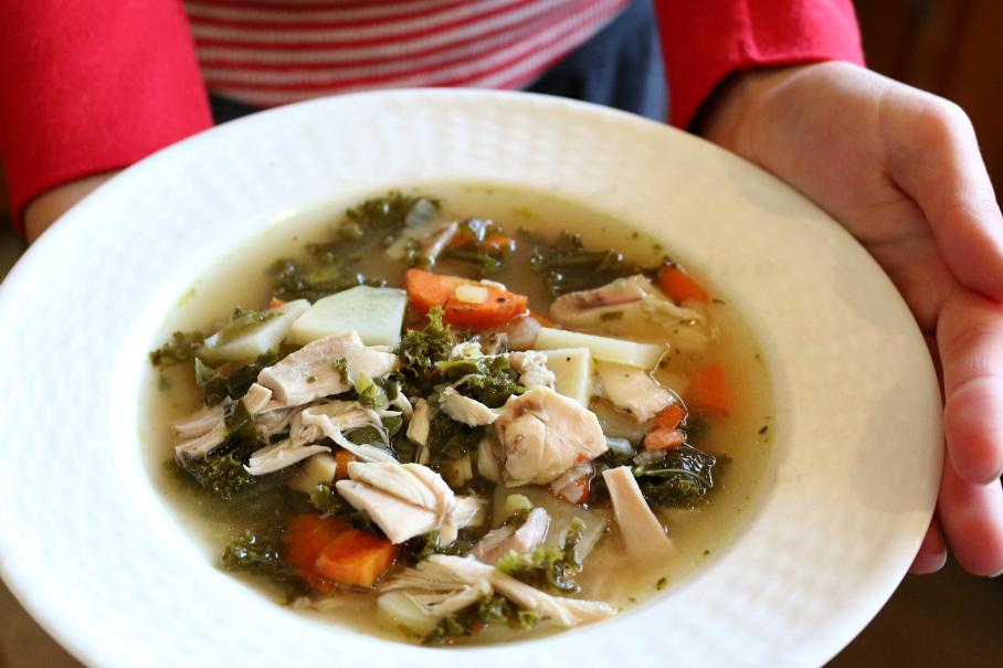 Tuscan Chicken Kale Soup CeceliasGoodStuff.com Good Food for Good People
