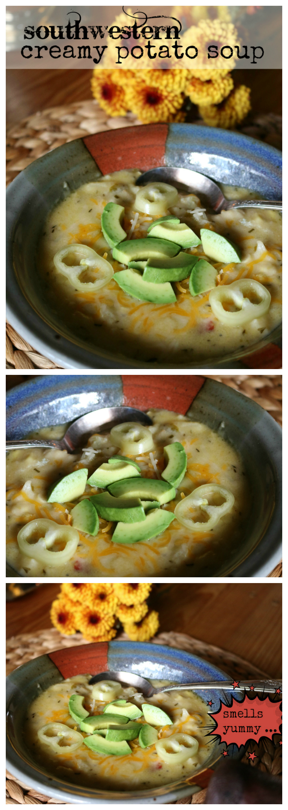 A Southwestern Creamy Potato Soup Recipe CeceliasGoodStuff.com Good Food for Good People